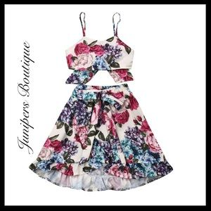 Boutique Girls Trendy Floral Top & Skirt